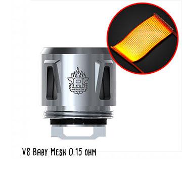 Résistance Smoktech V8 Baby Mesh, grande surface de chauffe