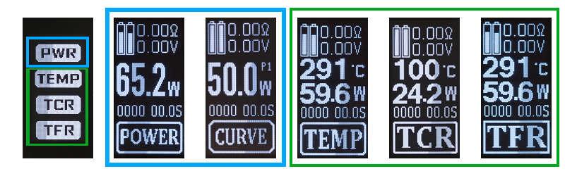 Asmodus Minikin V2, affichage des différents modes de fonctionnement