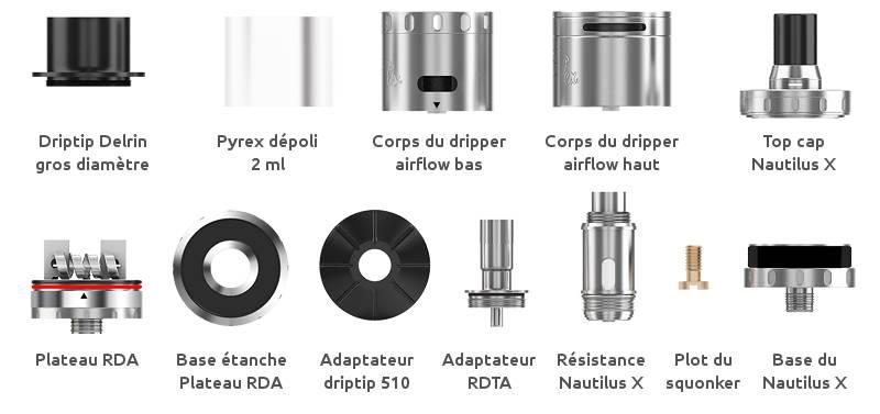 Aspire Quad-flex, vue détaillée des éléments du pack