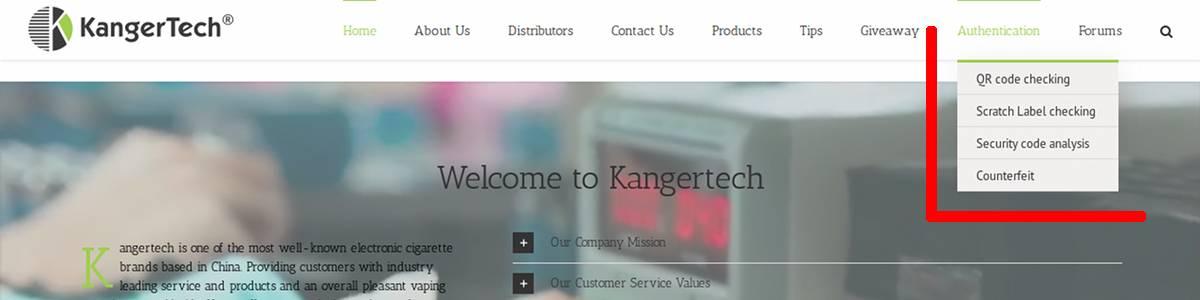 Menu dédié à l'authentification sur le site de Kangertech