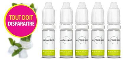 promotion sur 5 e-liquides Alfaliquid Menthe Glaciale