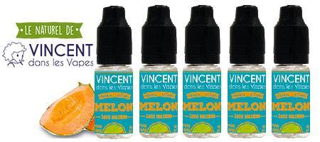 lot de 5 e-liquides Vincent dans les vapes Melon : 100% arômes de fruits naturels