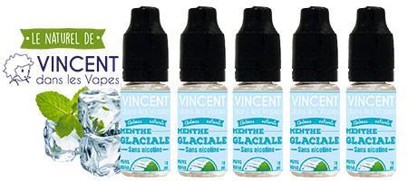 lot de 5 e-liquides Vincent dans les vapes Menthe glaciale fraicheur naturelle