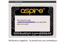 Code d'authentification non validé : le produit est une contrefaçon