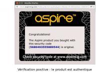 Code d'authentification validé : le produit est authentique